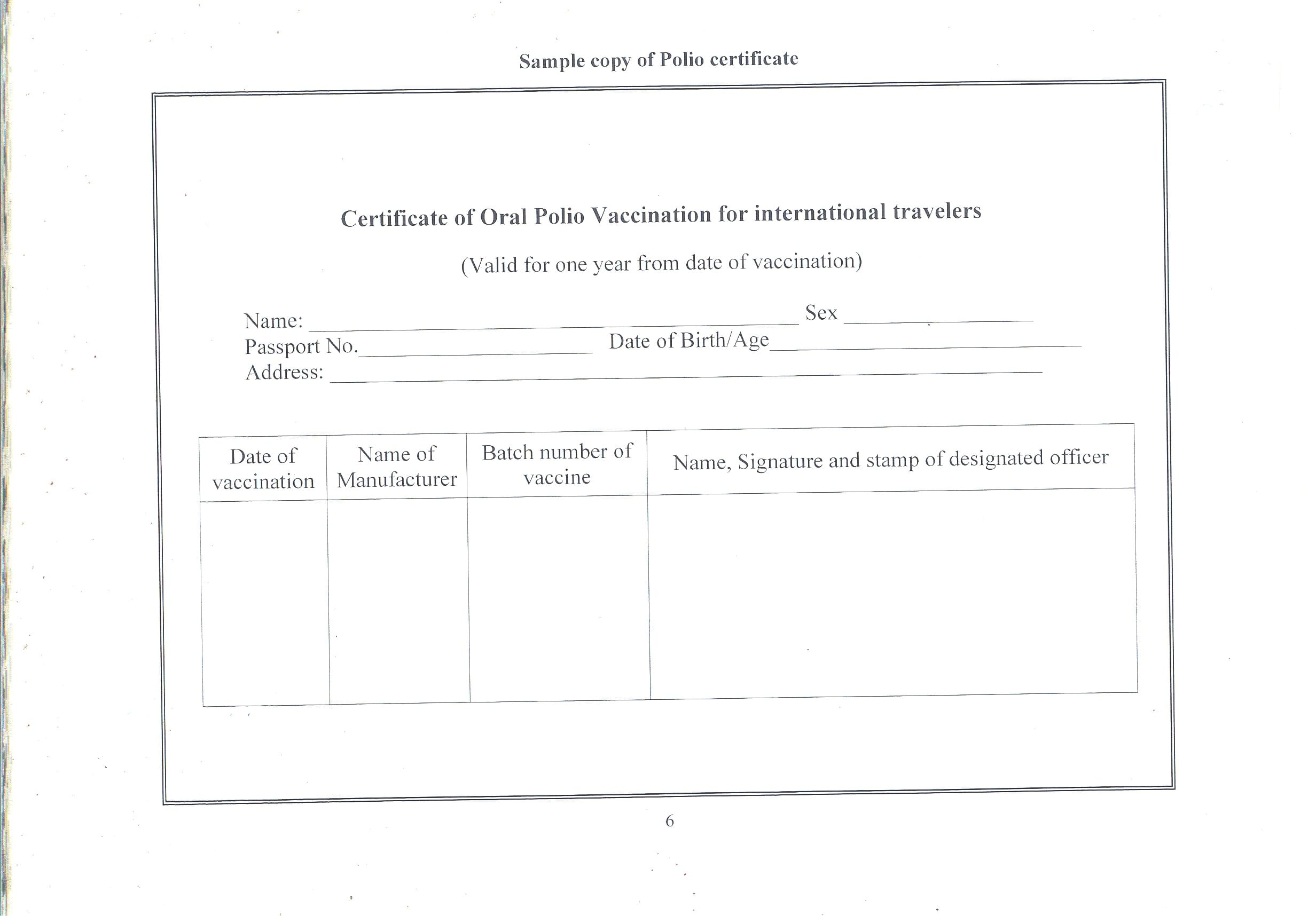 Oral Polio Vaccination Opv Requirements From India