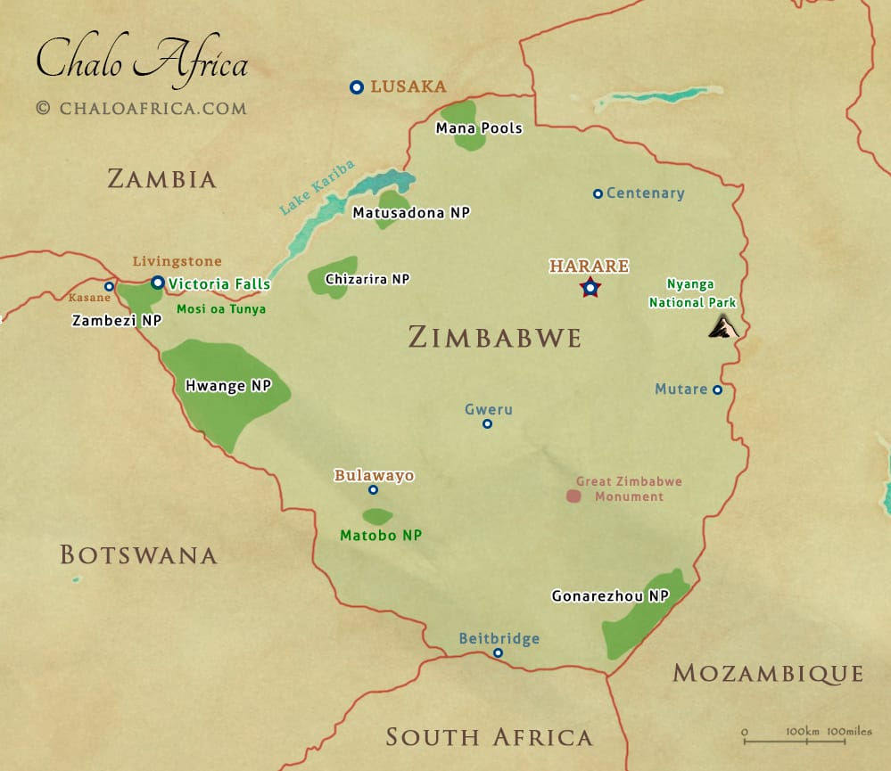 Zimbabwe Safari Map