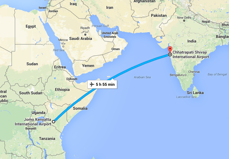 India Kenya Map - Flight Timing