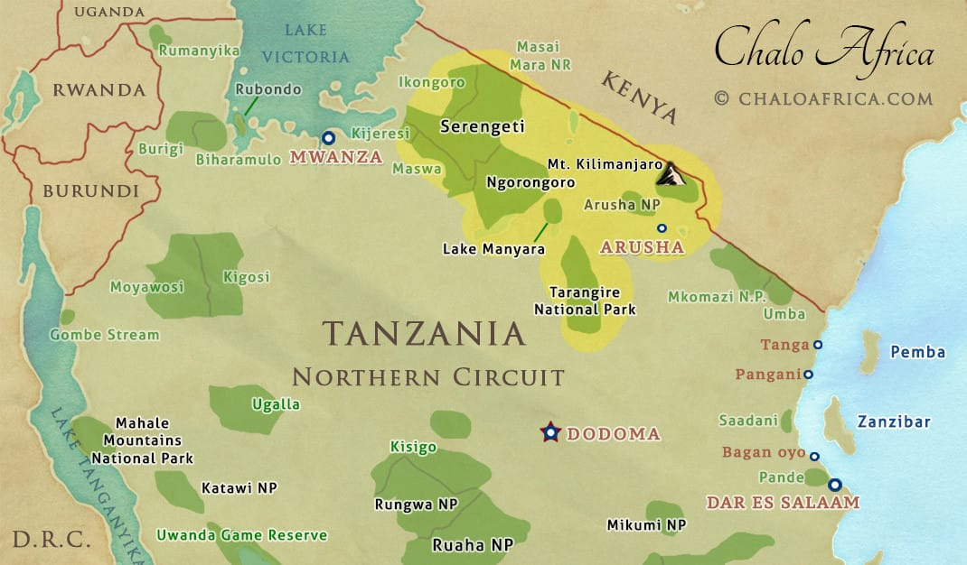 tanzania safari northern circuit map