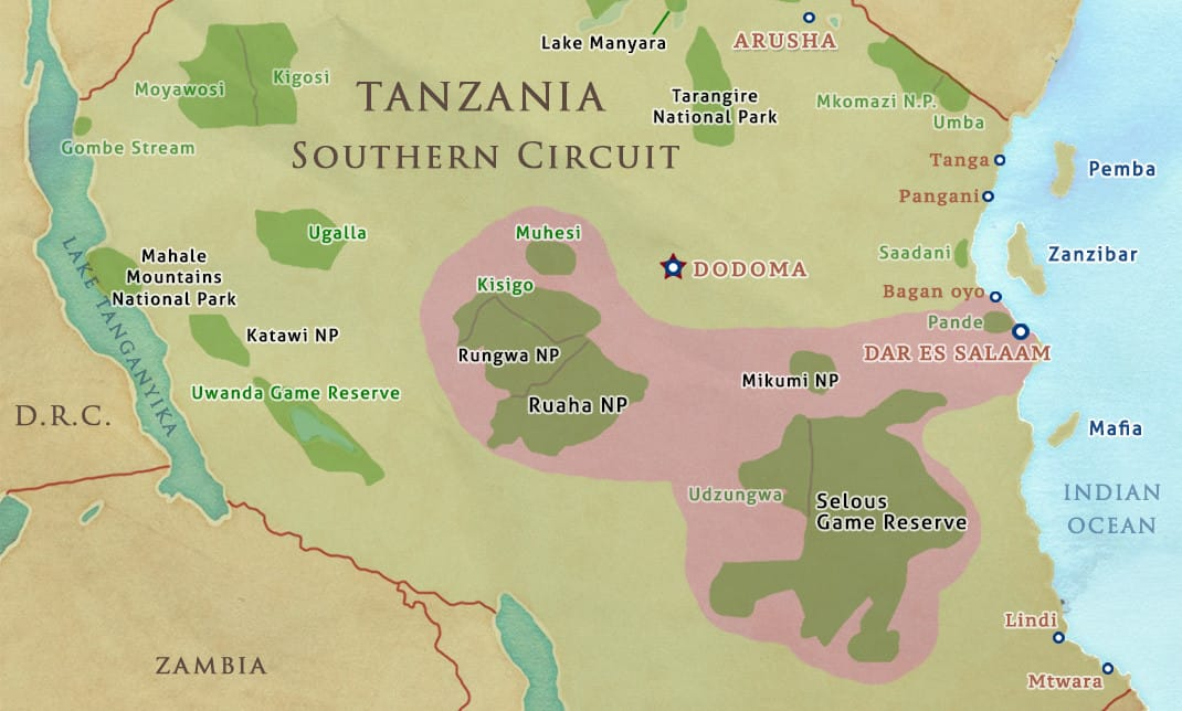 tanzania safari southern circuit map