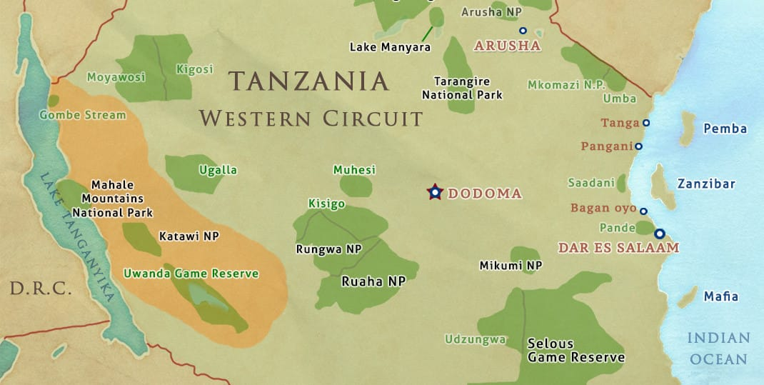 tanzania safari western circuit map