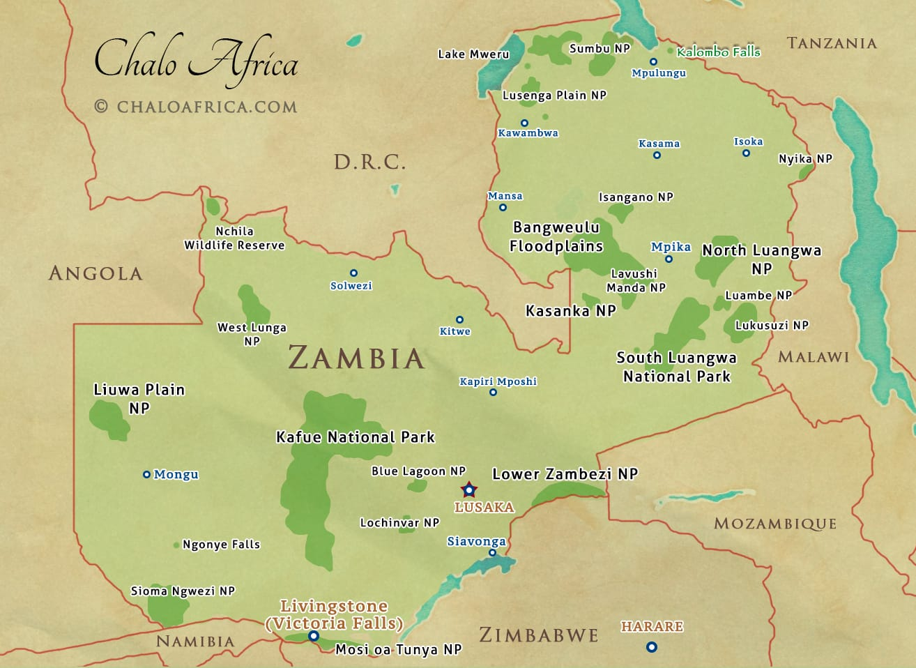 Zambia Safari Map - Chalo Africa