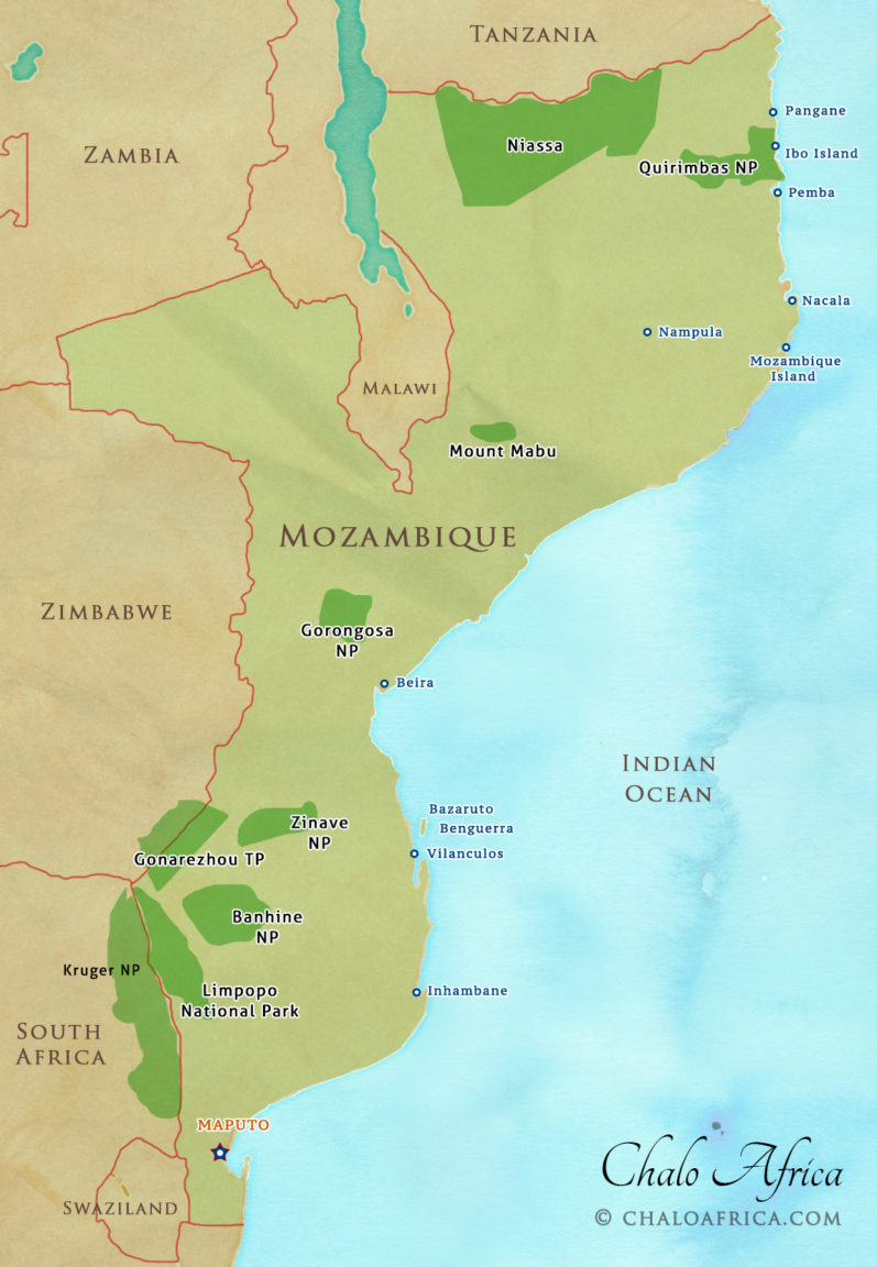 Mozambique Detailed Map